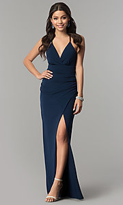 Image of long v-neck prom dress in dark navy blue. Style: SS-X36561X05 Back Image