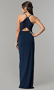 Image of long v-neck prom dress in dark navy blue. Style: SS-X36561X05 Detail Image 2