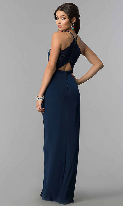 646f37dd66b Image of long v-neck prom dress in dark navy blue. Style  SS