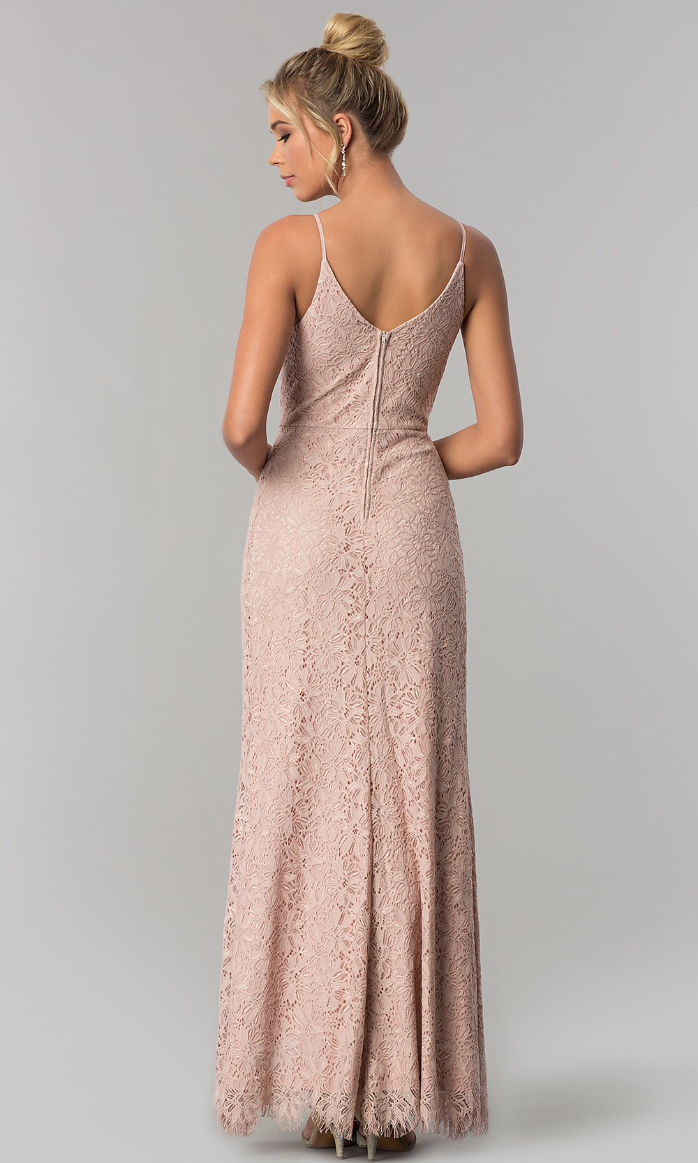 Lace V-Neck Long Prom Dress with Slit - PromGirl