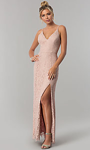 Image of long taupe pink lace v-neck prom dress with slit. Style: SS-X36691H540 Front Image