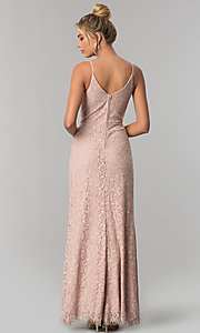 Image of long taupe pink lace v-neck prom dress with slit. Style: SS-X36691H540 Back Image
