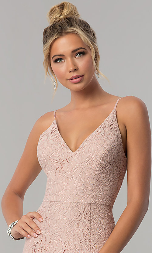 Image of long taupe pink lace v-neck prom dress with slit. Style: SS-X36691H540 Detail Image 1