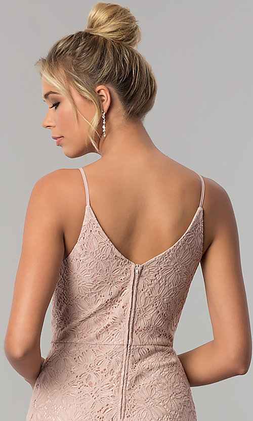 Image of long taupe pink lace v-neck prom dress with slit. Style: SS-X36691H540 Detail Image 2