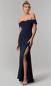 Image of long off-the-shoulder jersey prom dress in ink blue. Style: SS-X37341DPH Front Image