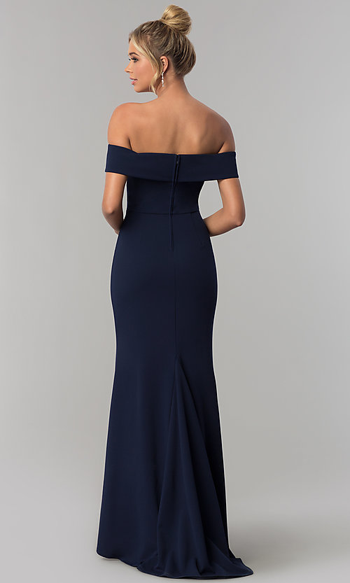 Image of long off-the-shoulder jersey prom dress in ink blue. Style: SS-X37341DPH Back Image