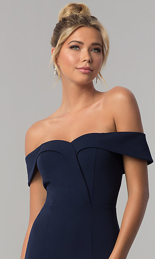 Image of long off-the-shoulder jersey prom dress in ink blue. Style: SS-X37341DPH Detail Image 1