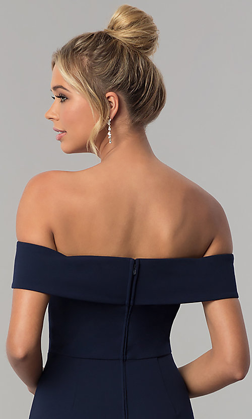 Image of long off-the-shoulder jersey prom dress in ink blue. Style: SS-X37341DPH Detail Image 2