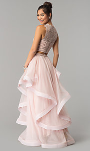 Long Two-Piece Lace-Bodice Rose Pink Prom Dress