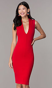 Image of short v-neck party dress with crossing back straps. Style: TOP-D5011 Detail Image 4