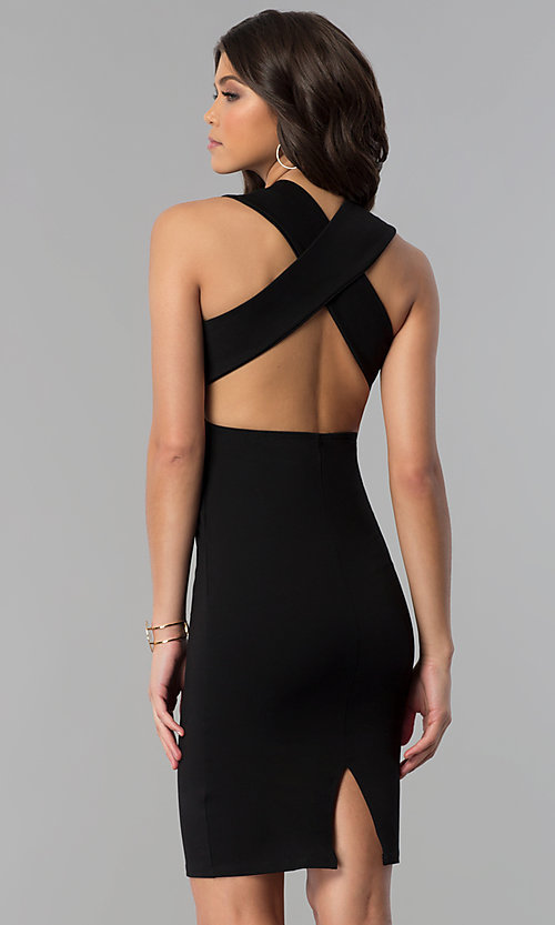 Image of short v-neck party dress with crossing back straps. Style: TOP-D5011 Back Image
