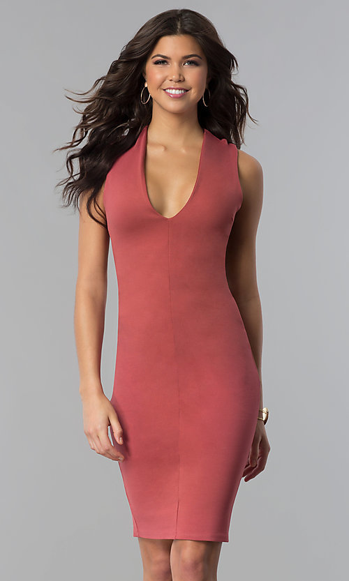 Image of short v-neck party dress with crossing back straps. Style: TOP-D5011 Detail Image 1