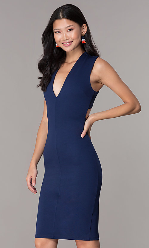 Image of short v-neck party dress with crossing back straps. Style: TOP-D5011 Detail Image 3