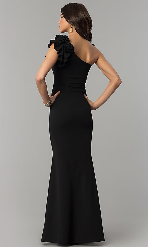 Image of one-shoulder long mermaid jersey prom dress. Style: SY-IDM5303VP Back Image