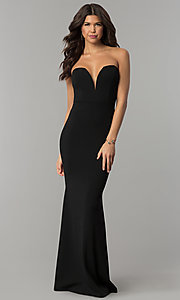 Long Strapless V-Neck Prom Dress