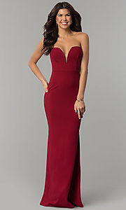 Image of long strapless low-sweetheart prom dress with cut out. Style: SY-IDM5305VP Detail Image 2