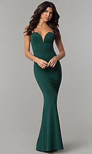 Image of long strapless low-sweetheart prom dress with cut out. Style: SY-IDM5305VP Detail Image 3