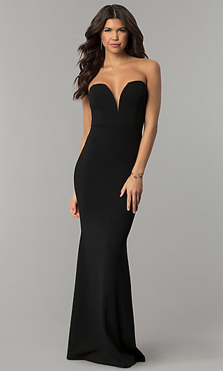Strapless Plunging-Sweetheart Long Prom Dress