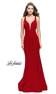 Image of La Femme open-back long v-neck prom dress. Style: LF-25594 Detail Image 1