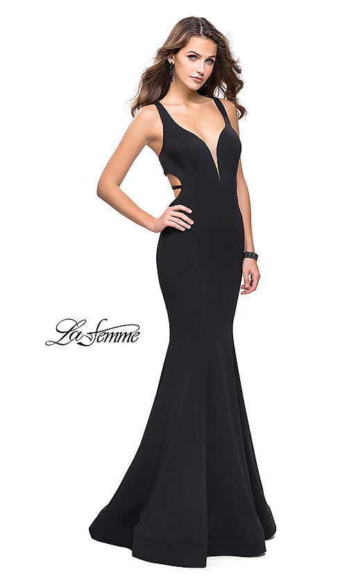 Image of La Femme open-back long v-neck prom dress. Style: LF-25594 Front Image