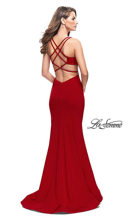 Image of La Femme open-back long v-neck prom dress. Style: LF-25594 Back Image