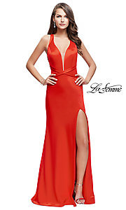 Long Open-Back Illusion V-Neck Prom Dress by La Femme