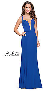 Image of open-back La Femme prom dress with illusion v-neck. Style: LF-25964 Detail Image 3