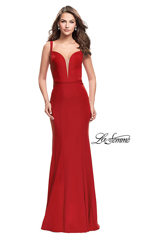 Image of open-back La Femme prom dress with illusion v-neck. Style: LF-25964 Front Image