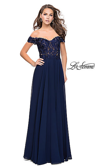 Off-the-Shoulder Long La Femme Prom Dress with Applique Accents