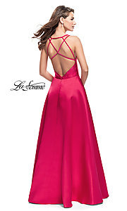 Image of La Femme long prom dress with illusion deep v-neck. Style: LF-26215 Back Image