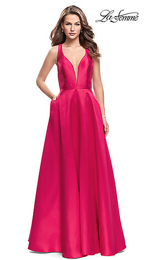La Femme Long Prom Dress with Illusion Deep V-Neck
