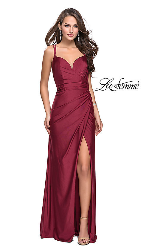 Image of long ruched prom dress by La Femme. Style: LF-26317 Front Image