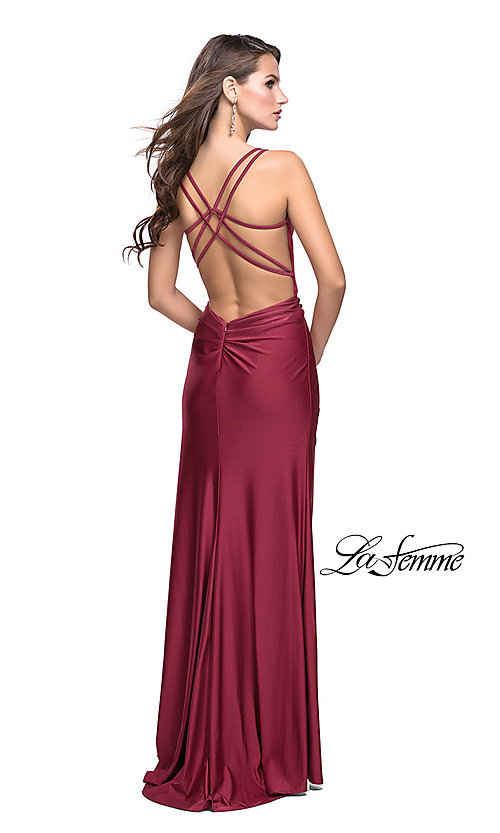 Image of long ruched prom dress by La Femme. Style: LF-26317 Back Image