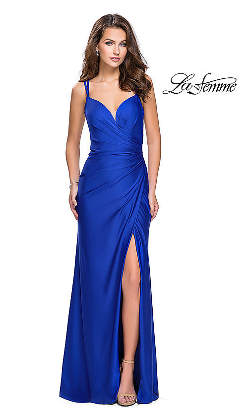 Image of long ruched prom dress by La Femme. Style: LF-26317 Detail Image 2