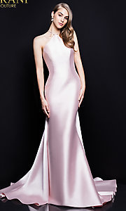 Long Open-Back Terani Prom Dress with a Train
