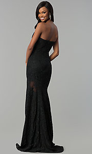 Image of fitted lace strapless sweetheart prom dress. Style: NC-2121 Back Image