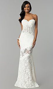 Image of fitted lace strapless sweetheart prom dress. Style: NC-2121 Detail Image 2