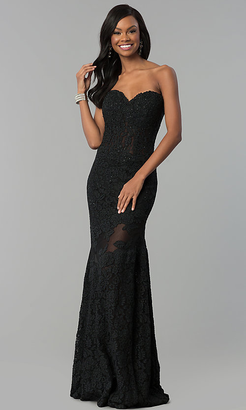 Image of fitted lace strapless sweetheart prom dress. Style: NC-2121 Detail Image 1