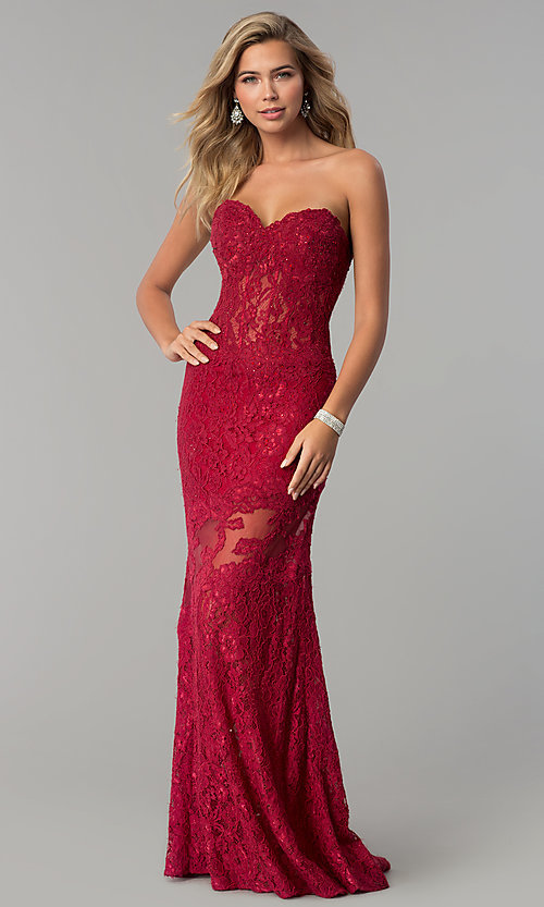 Image of fitted lace strapless sweetheart prom dress. Style: NC-2121 Detail Image 3