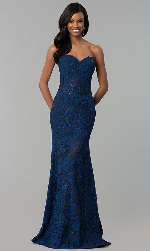 Image of fitted lace strapless sweetheart prom dress. Style: NC-2121 Front Image