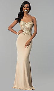 Image of strapless long designer prom dress by Nina Canacci. Style: NC-2117 Front Image