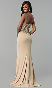 Image of strapless long designer prom dress by Nina Canacci. Style: NC-2117 Back Image