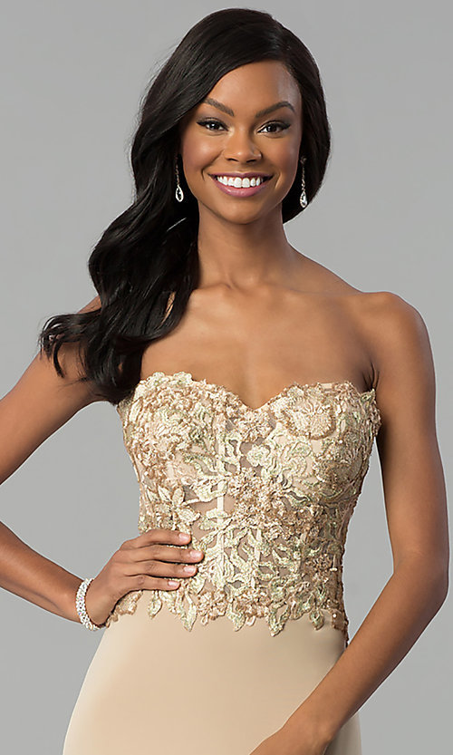 Image of strapless long designer prom dress by Nina Canacci. Style: NC-2117 Detail Image 1