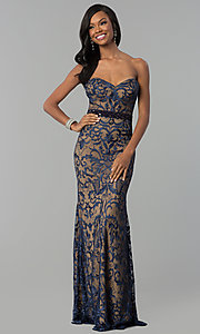 Long Strapless Sweetheart Navy Lace Prom Dress