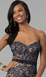 Image of long strapless sweetheart navy lace prom dress. Style: NC-2120 Detail Image 1