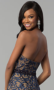 Image of long strapless sweetheart navy lace prom dress. Style: NC-2120 Detail Image 2