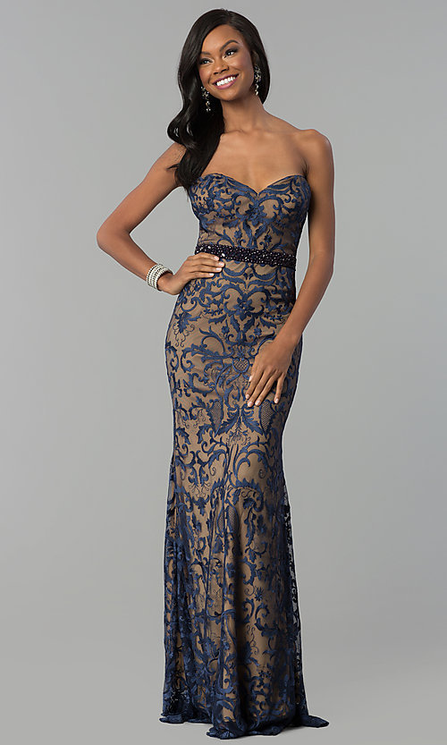 Image of long strapless sweetheart navy lace prom dress. Style: NC-2120 Front Image