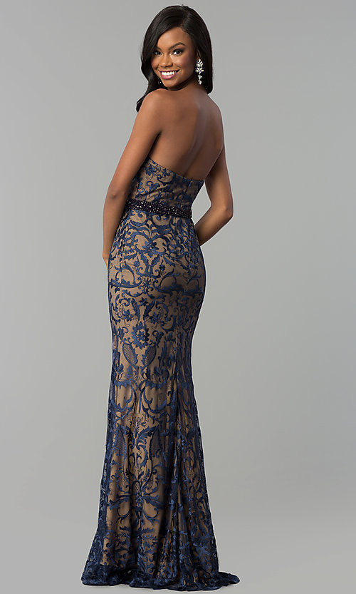 Image of long strapless sweetheart navy lace prom dress. Style: NC-2120 Back Image