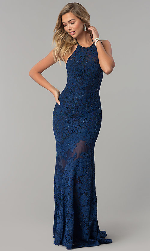 Image of long navy lace halter prom dress with accents. Style: NC-2141S Front Image