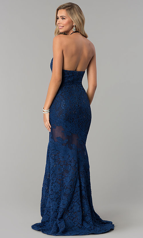 Image of long navy lace halter prom dress with accents. Style: NC-2141S Back Image